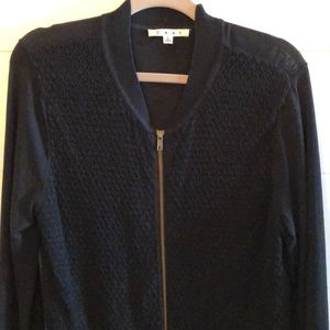 CAbi black cardigan, round neck with zipper